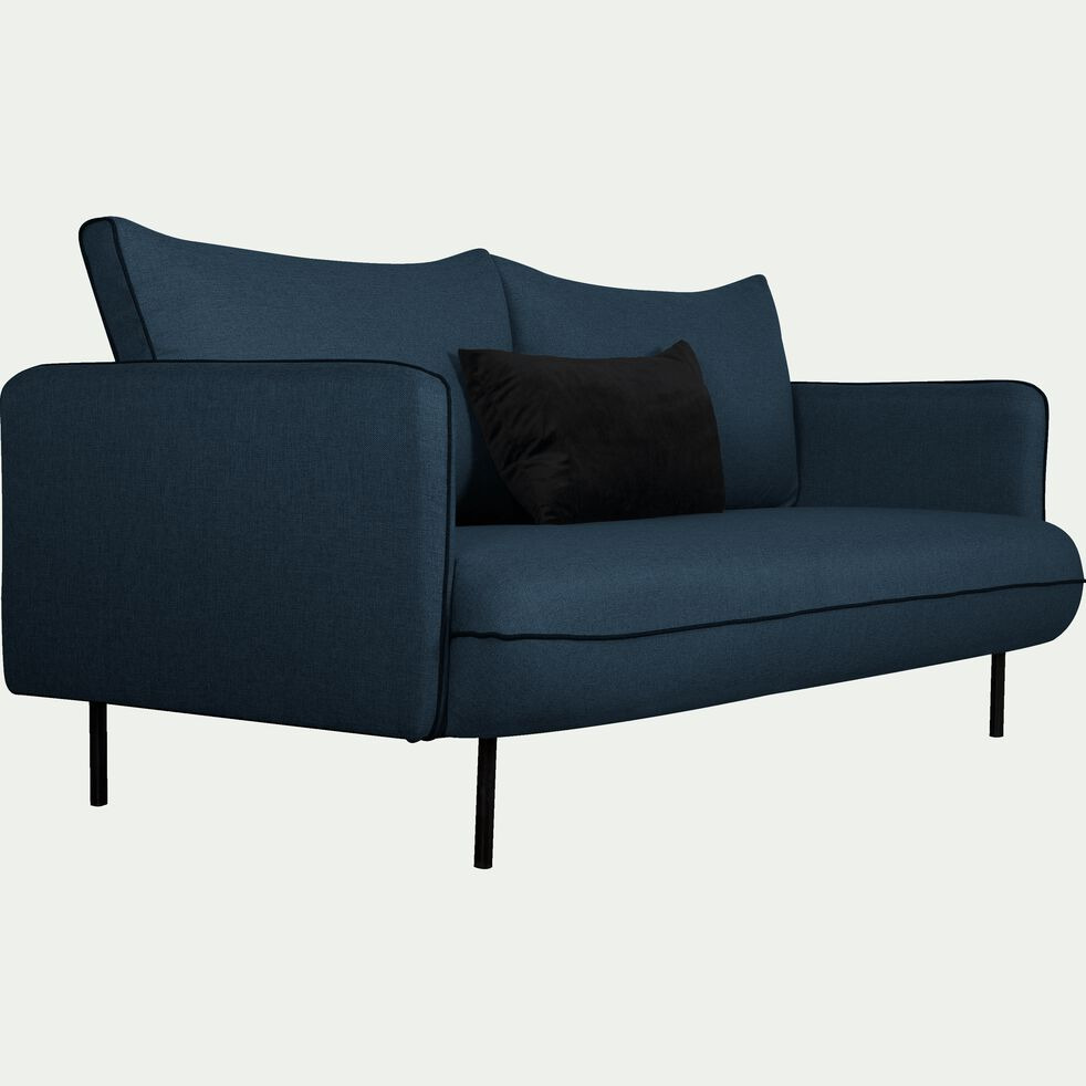 Canapé 3 places fixe en tissu - bleu figuerolles-SAOU