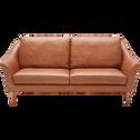 Canapé 2 places fixe en cuir de vachette camel-RETRO