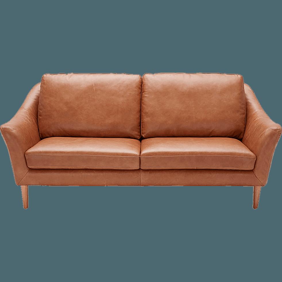 canap 2 places fixe en cuir de vachette camel retro. Black Bedroom Furniture Sets. Home Design Ideas