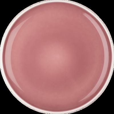 Assiette plate en faïence rose D27cm-CAMELIA