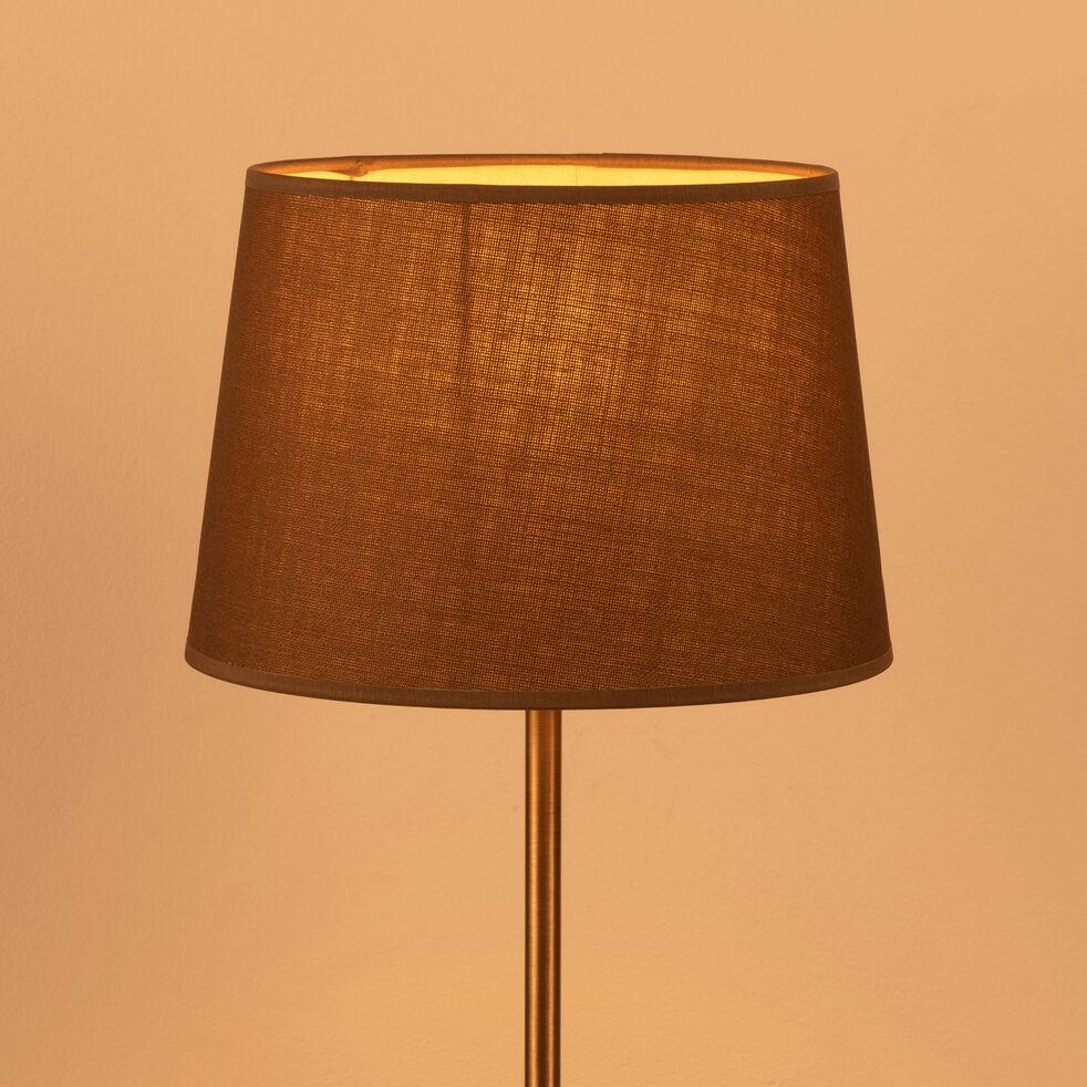 Abat-jour tambour en coton - D33cm brun châtaigner-MISTRAL