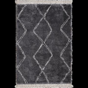 Tapis de style berbère à franges gris 120x170 cm-ALICE