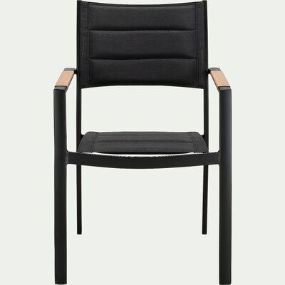Chaise de jardin avec accoudoirs en aluminium et textilène - noir-VERDON
