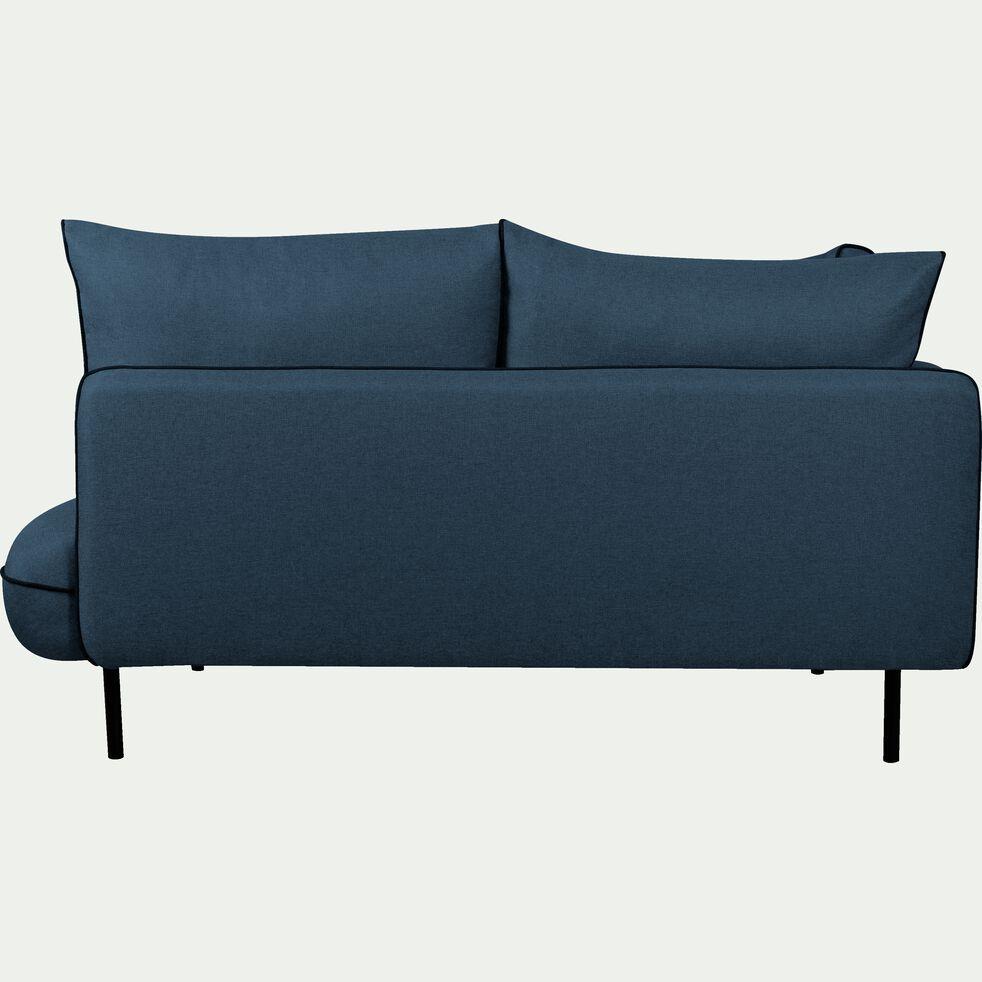 Canapé d'angle fixe droit en tissu bleu figuerolles-SAOU
