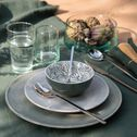 Coupelle en porcelaine vert cèdre motifs laurier D11cm-AIX
