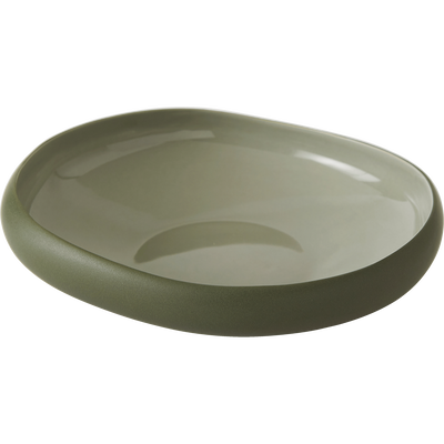Assiette creuse en grès vert olivier D20cm-KYMA