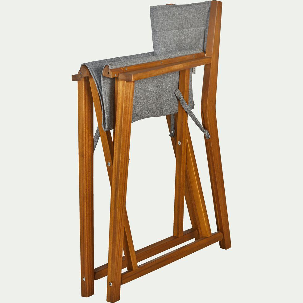 Chaise de jardin régisseur en acacia avec accoudoirs gris-ALASSIO