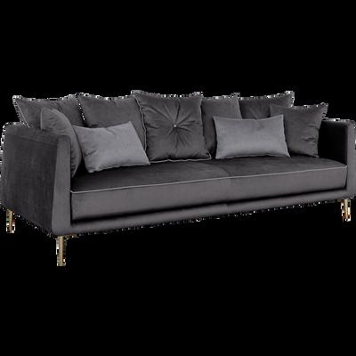 Canapé 4 places fixe en tissu noir calabrun-ASTELLO