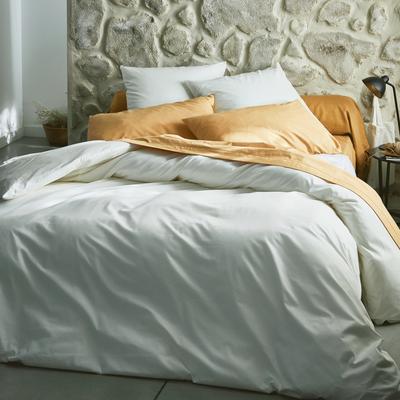 Ensemble linge de lit en coton blanc et beige-LINGE DE LIT COTON