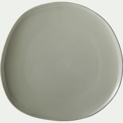 Assiette plate en grès vert olivier D27cm-KYMA