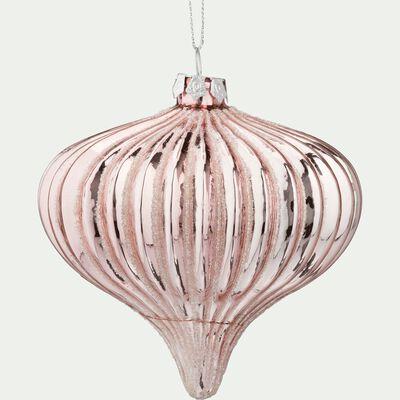 Boule de Noël en verre rose D9,5cm-LIEM