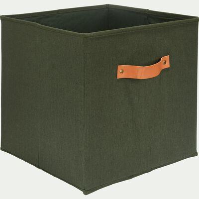 Panier de rangement en polycoton - vert cèdre 31x31cm-ERRO