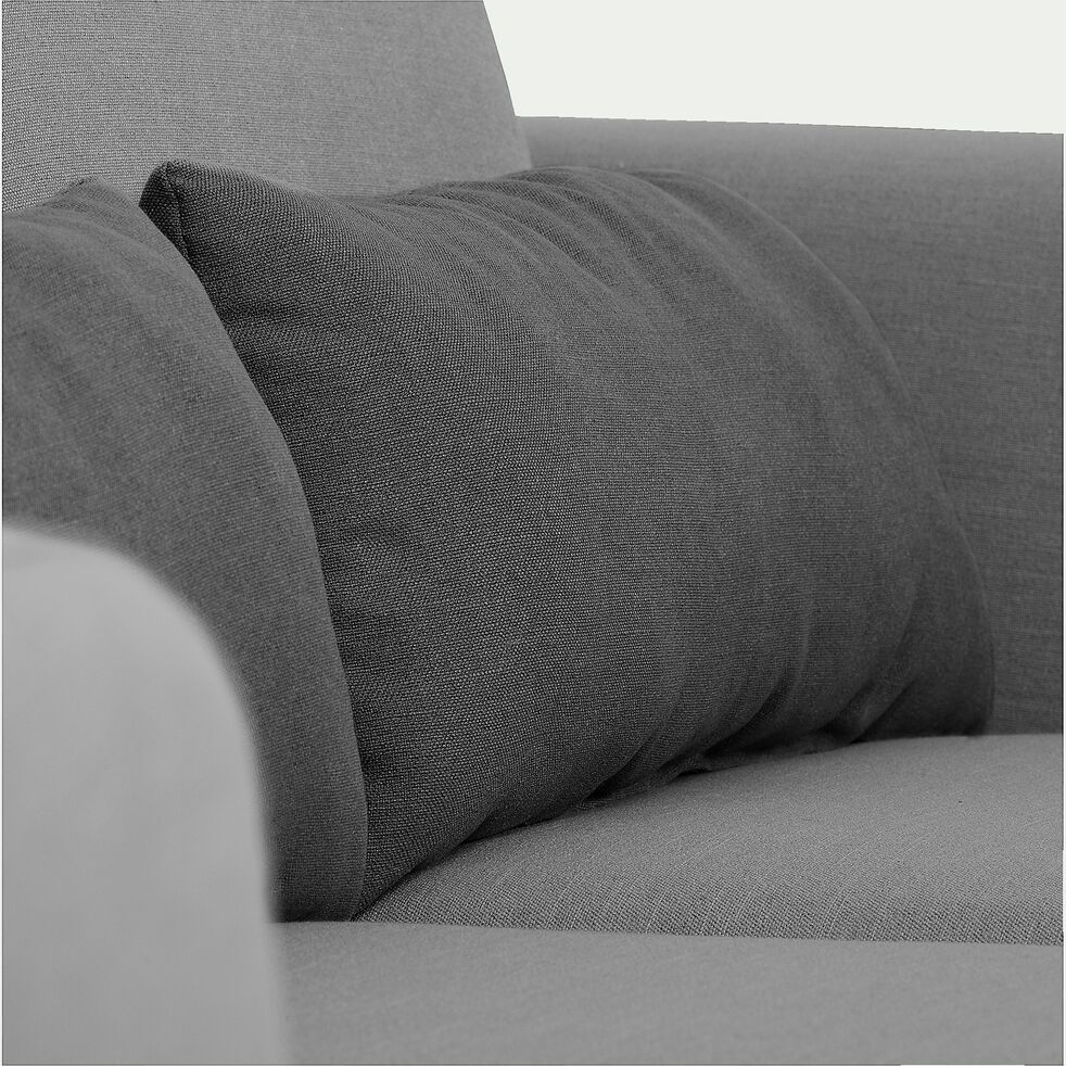 Canapé d'angle fixe réversible en tissu gris clair-LIP