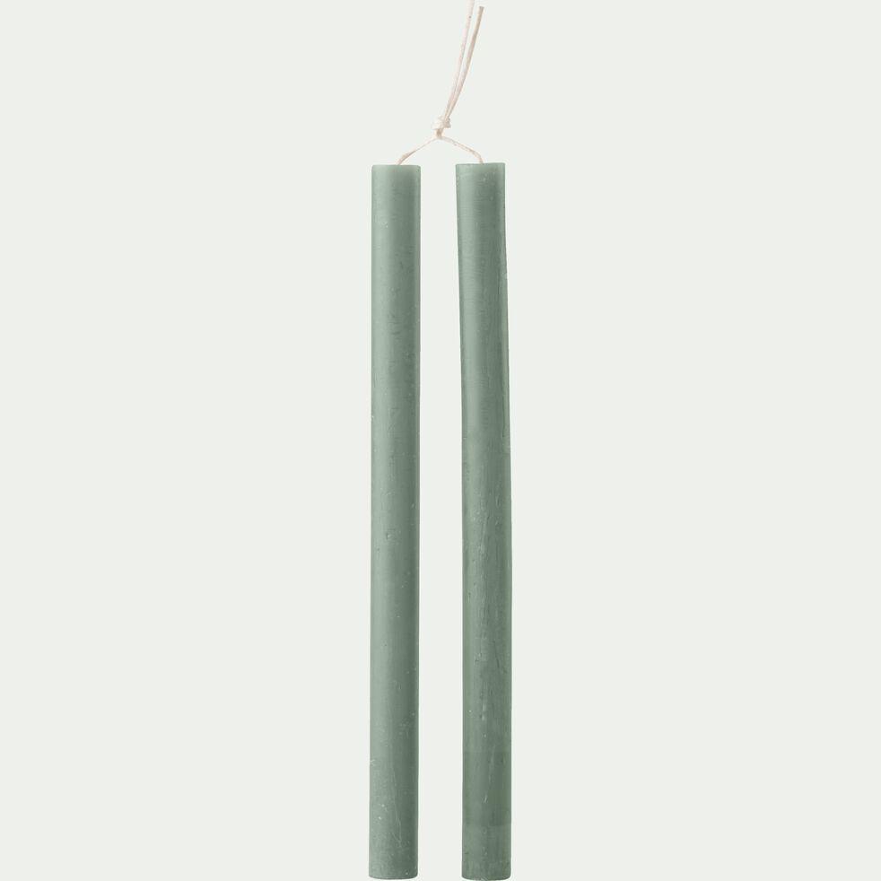 Bougie duo de flambeaux vert cèdre D2xH30cm-BEJAIA
