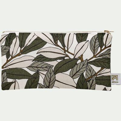 Pochette en coton motif Laurier - vert 12x23cm-LAURIER