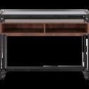 Console plaquée noyer avec plateau en verre-ESPERANCIO