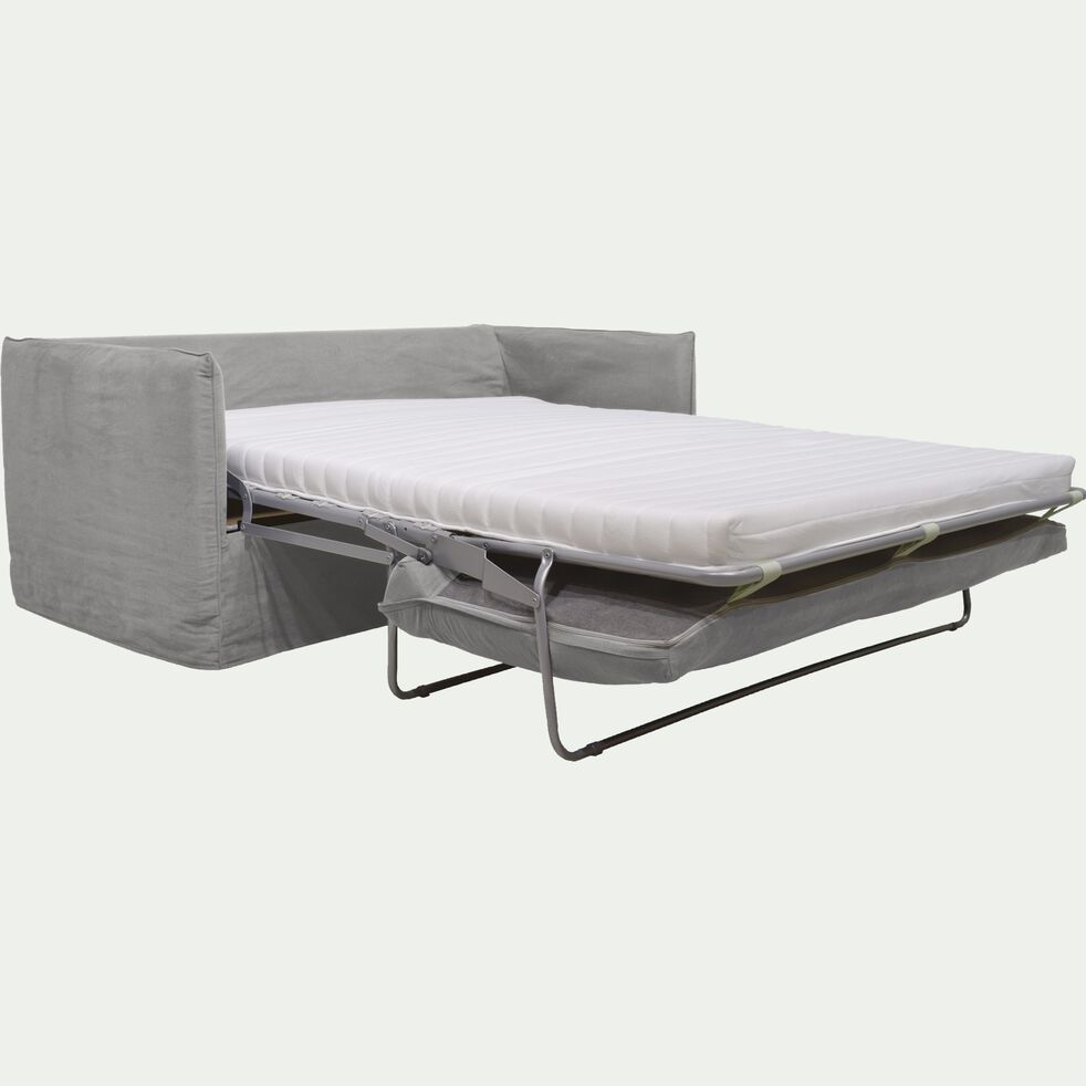 Canapé 3 places convertible en coton et lin - beige alpilles-KALISTO