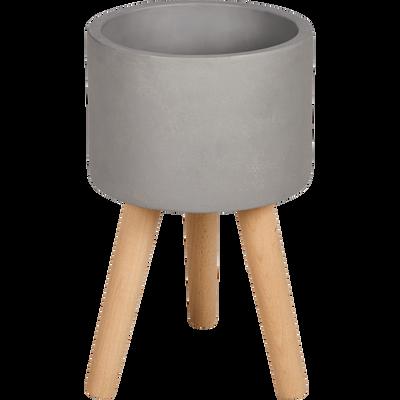 Cache-pot en pierre et bois H36xD25cm-TAMARIS