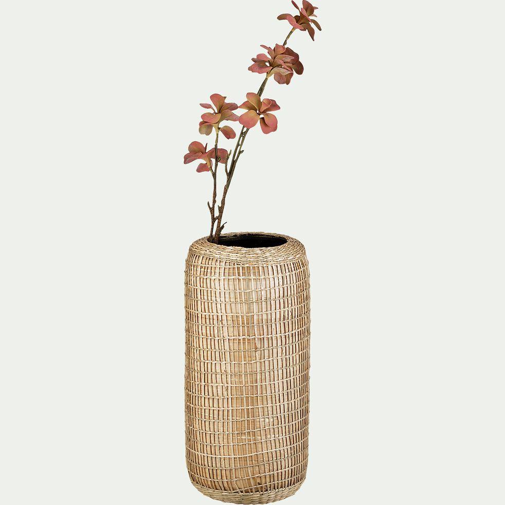 Vase en jacinthe d'eau et bambou H42cm-BAGUIO