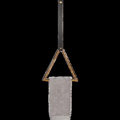 Patère à fixer triangle doré et cuir-CAMARET