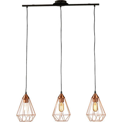 Suspension géométrique à 3 lumières en métal cuivré L79cm-TARBES