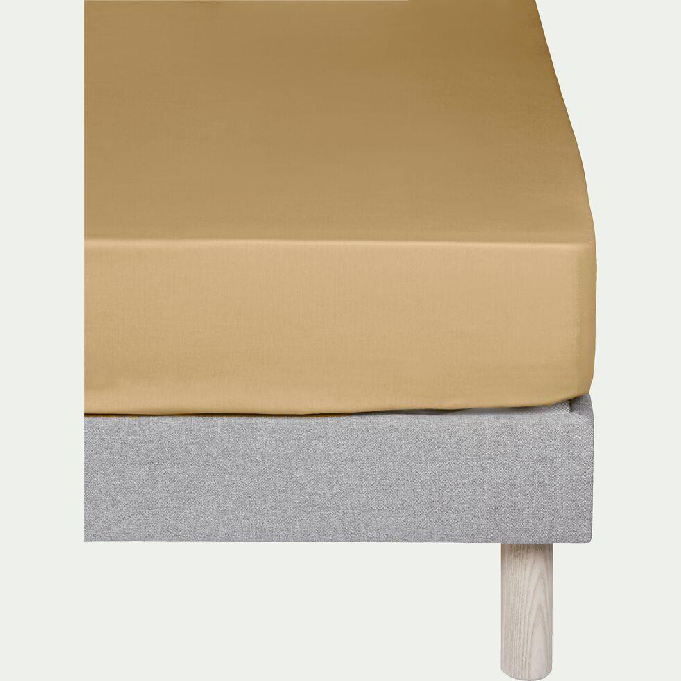 Drap housse en coton Beige nèfle 90x200cm -bonnet 25cm-CALANQUES
