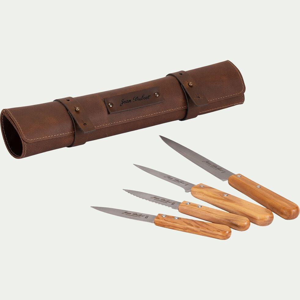 Sacoche en cuir avec 4 couteaux de cuisine en inox-SACCO