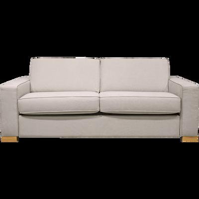 Canapé 3 places convertible en tissu nougat et matelas 16cm à mémoire de forme-California