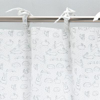 Rideau à nouettes en coton 140x250cm - blanc avec imprimé gris-Bestiaire