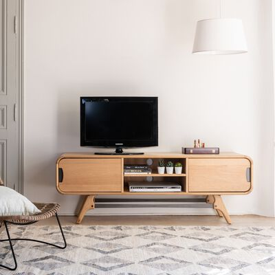 Meuble TV plaqué chêne avec piétement en métal