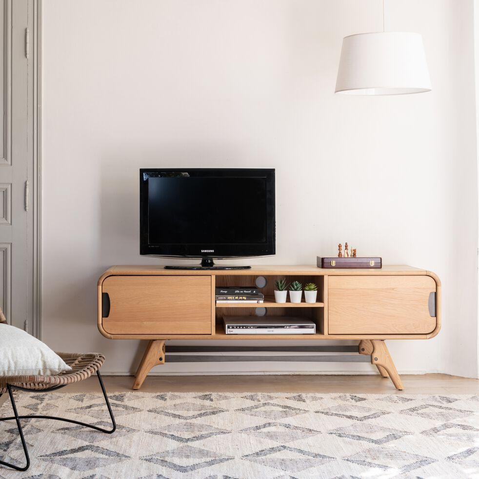 Meuble TV plaqué chêne avec piétement en métal-FANETTE