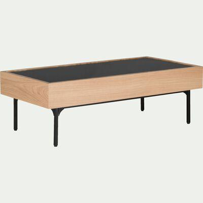 Table basse rectangulaire en verre et placage chêne-GOUDE