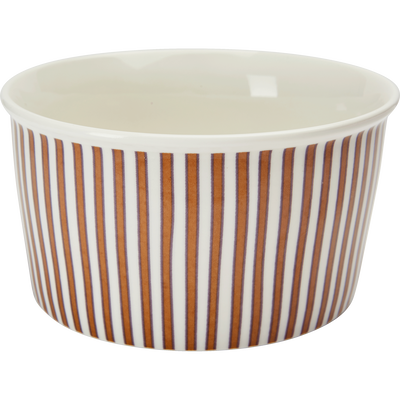 Coupelle en porcelaine rouge rayée D12,5cm-CAFI