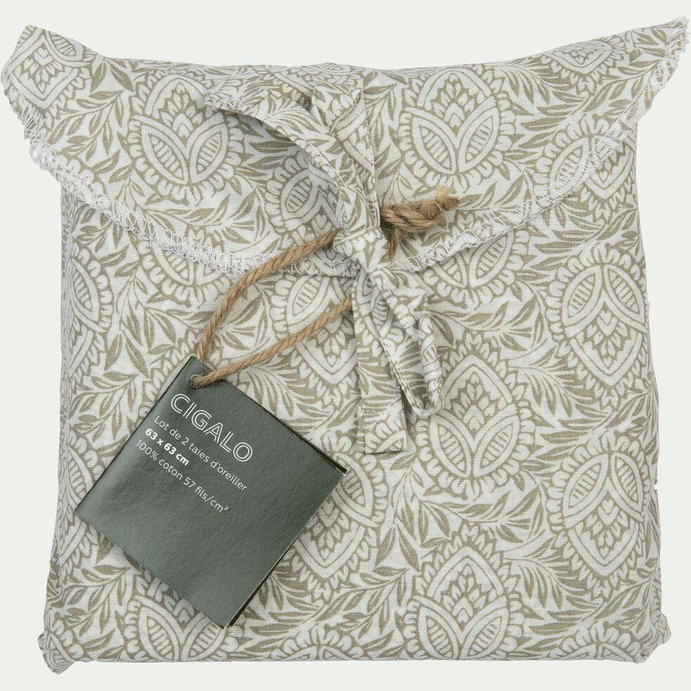 Lot de 2 taies d'oreiller en coton motif Amande - gris borie 63x63cm-CIGALO