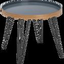 Table basse grise en bambou et acier-NUNCA