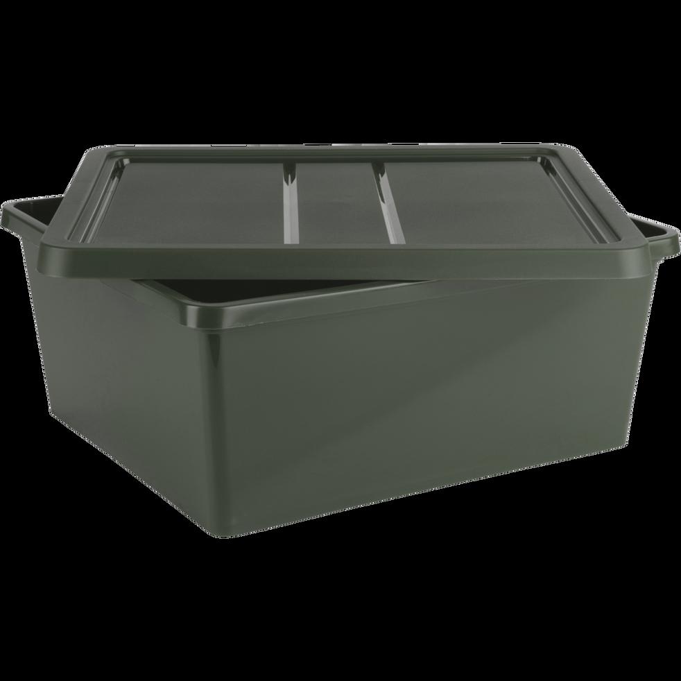 Boîte de rangement en plastique vert H16,8xP34x40 cm-ANDATI