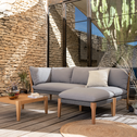 Salon de jardin en eucalyptus gris (4 places)-BELLONE