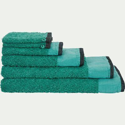 Linge de toilette coton et lin vert menthe-ADONI