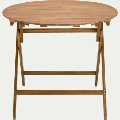 Table de jardin pliante en acacia huilée D90cm - naturel (2 à 4 places)-CARLO