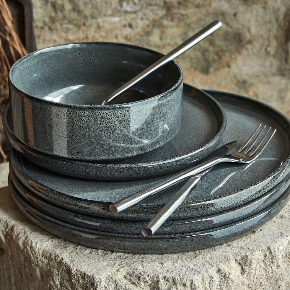 Assiette creuse en grès émail réactif D15,5cm - gris clair-PIETRA
