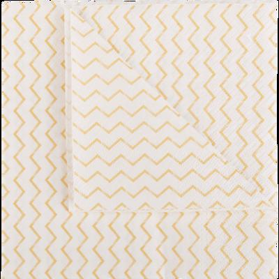 Lot de 20 serviettes en papier décoré 33x33cm-DUNES