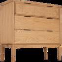 Commode 3 tiroirs en chêne plaqué et rotin-ARTHURA