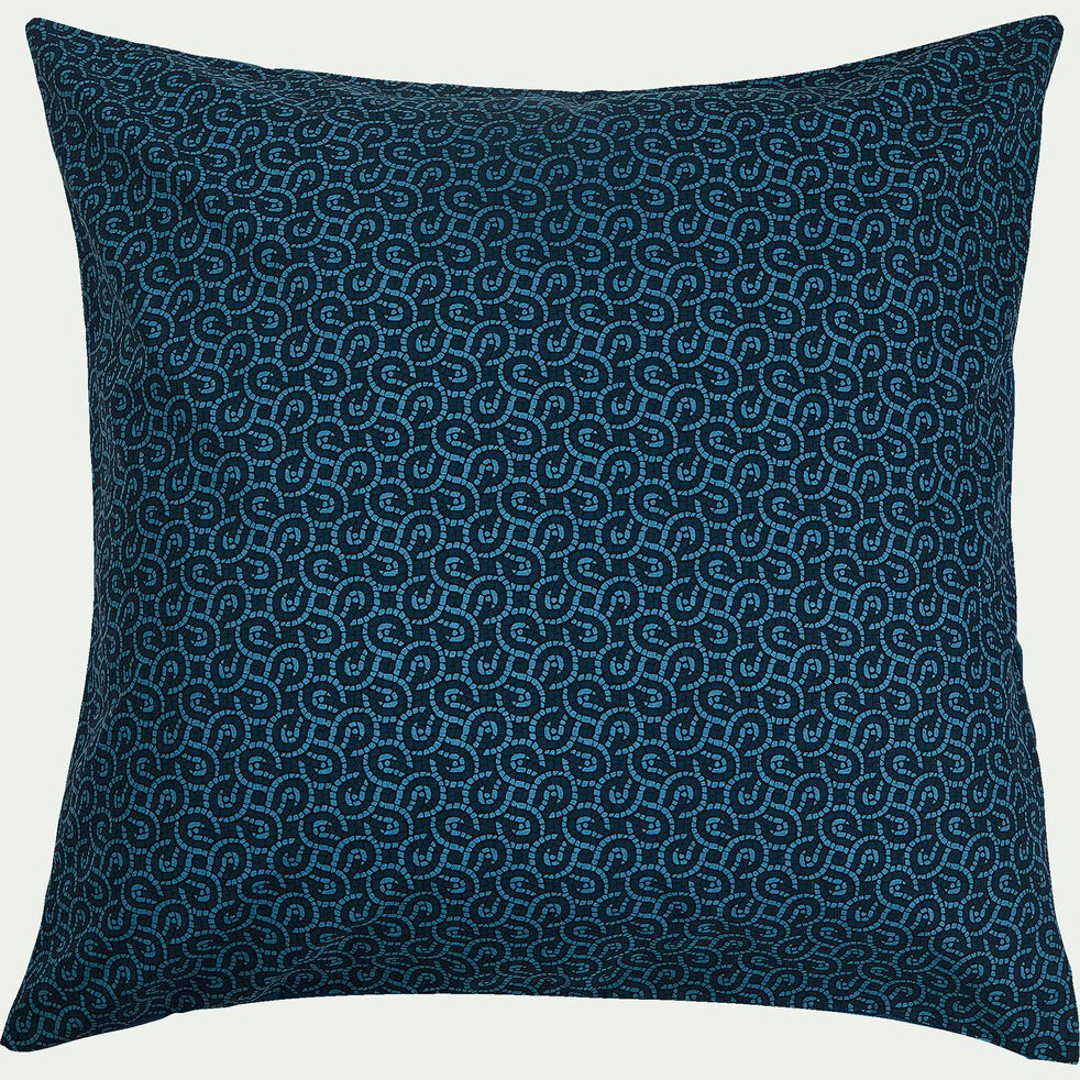 Housse de couette et 2 taies d'oreiller en coton - bleu 240x220cm-MOSAIQUE