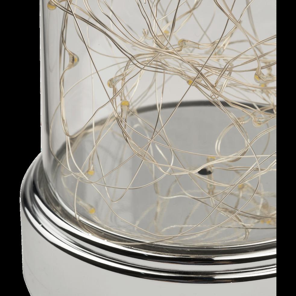 Cloche en verre led argenté H18cm-ELINA