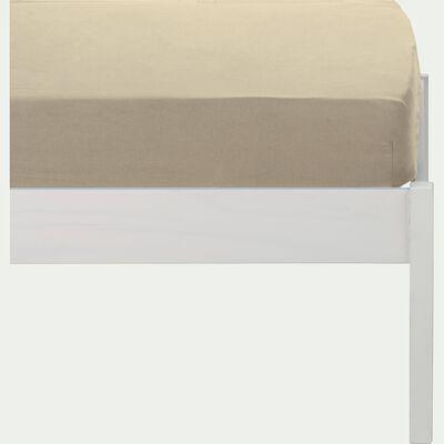 Drap housse en percale de coton lavé 70x140cm beige roucas-PALOMA