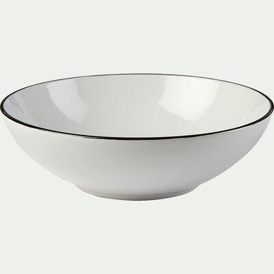 Assiette creuse en grès - blanc D18,5cm-ANNE