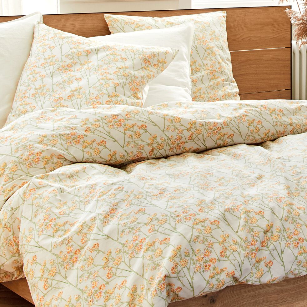 Housse de couette et 2 taies d'oreiller en coton motif floral - jaune 240x220cm-FLEURI