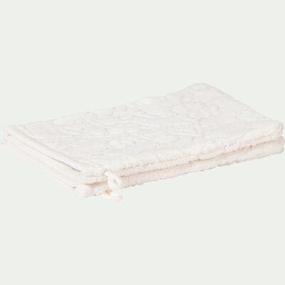 Lot de 2 gants de toilette tissés plat en coton brodé - blanc nougat-DANGWA