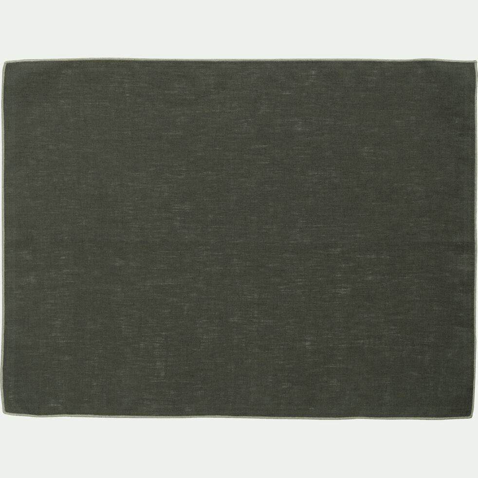 Set de table en lin et coton vert cèdre 36x48cm-MILA