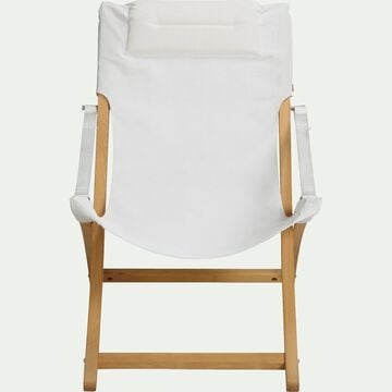 Fauteuil de jardin relax pliant en acacia avec accoudoirs blanc-LINDA